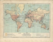 1934 Vintage Map Of The World / Principal Transportation Lines And Commercial Development / Old Map
