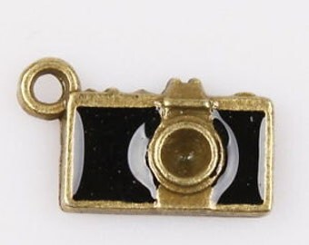 charms camera black enamel jewelry supplies bracelet earring findings  quantity  5  SEW100