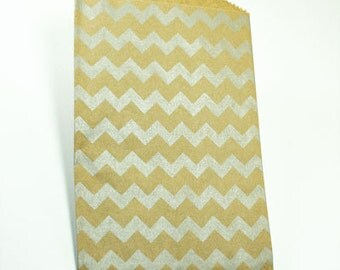 Kraft & Silver Chevron Paper Bags - Pack of 20 Middy Bitty bags