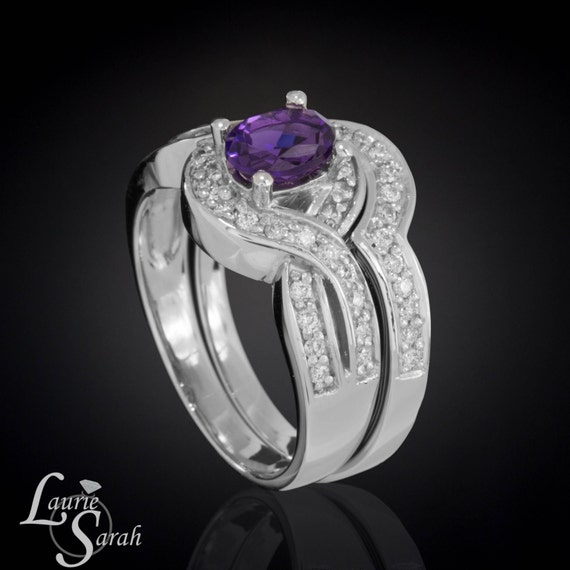 Amethyst engagement ring diamond engagement ring oval for Amethyst diamond wedding ring set