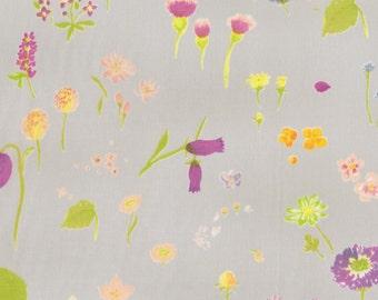 nani IRO Cotton Compass Fabric - 2014 Sen Ritsu A Meadow Flowers - Brights on Light Grey