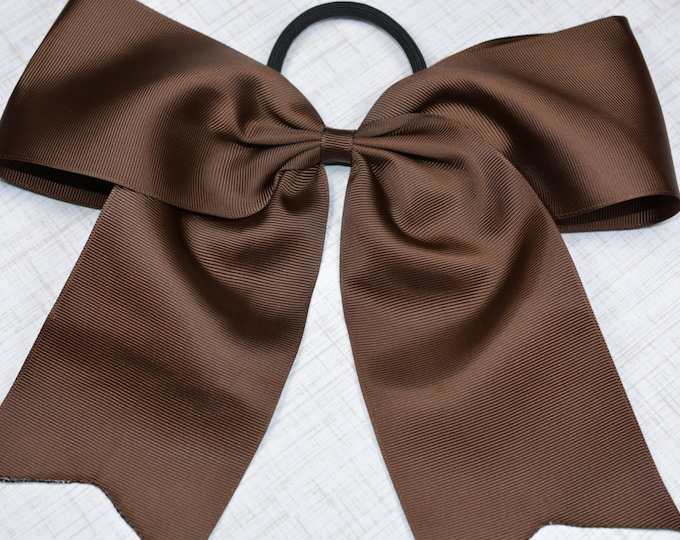 Brown Bow - 8 in. Cheer Bow on Pony- 0 - Cheerleading Practice Games  - Girl Hair Bows