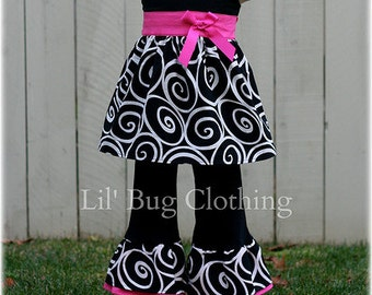 Custom Boutique Funky Swirls  Top and Pant Set Girl Pageant  Outfit
