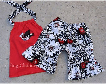 Custom Boutique Lil Bird Zesty Zennia Short Halter Outfit Red Black And White Floral