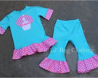 Custom Boutique Clothing Personalized Birthday Cupcake Teal White Polka Dot Pant  and Tee