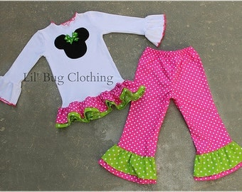 Minnie Mouse Hot Pink  and Lime Polka Dot  Tee and Pant Set Birthday Girl