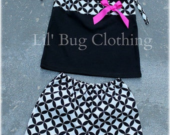 Custom Boutique Black White Diamond Short And Top  Pink Bow size 3m 6m 9m 12m 18m 24m 2t 3t 4t 5t 6 7 8 9 10