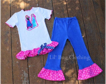 Anna Elsa Frozen Outfit, Anna Elsa Frozen Birthday Party Girls Pant & Ruffled Tee, Boutique Girl Clothes