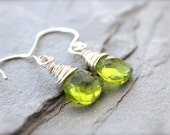Wire Wrapped Peridot Green Chinese Crystal Dangle Earrings. Bright Mossy Green Drop Earrings. Sterling Silver
