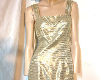 Gold Dress Vintage 60s Mod SHINY Lame Size XS