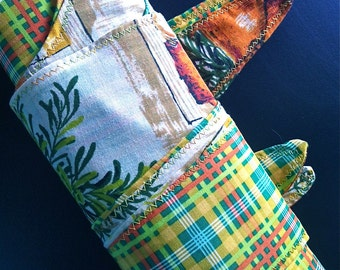 Reversible Grocery Market Bag Green Blue Yellow Plaid with New and Vintage Fabric