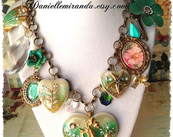SALE Seahorse Heart of the Ocean Statement Charm Necklace