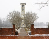 Bell Tower photos. Furman University Greenville SC. Dreamy Winter Snow Photography Red. Snow White. 8x12 Fine Art Photograph, Metallic paper