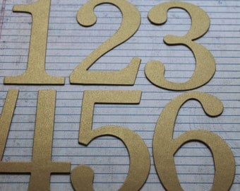Wedding Table Numbers 1-12 gold brushed matte over chipboard 4 inch tall SERIF number diecuts