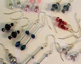 Stocking Stuffer, Party Favors, Goody Bag Earrings, Gifts, Lot of Five Unique pairs, Shimmer Shimmer