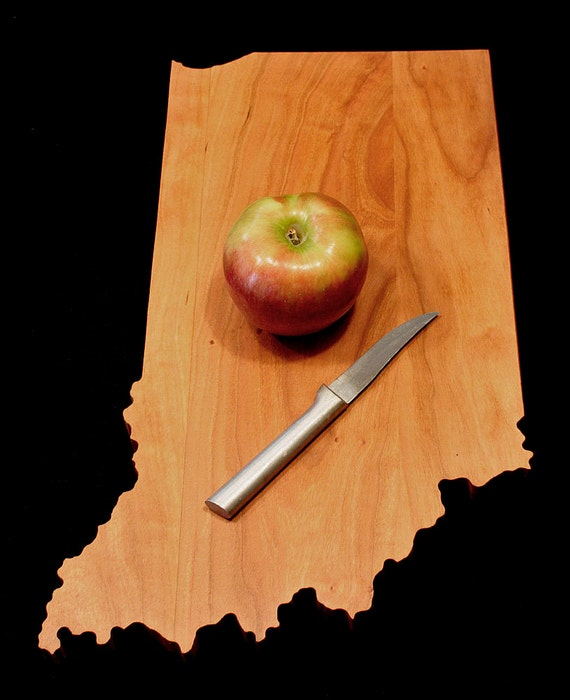 Personalized Gifts Cutting Board Engraved Indiana State Shaped Cutting Board Christmas Gift Kitchen Foodie Cutting Board Customized