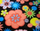 NEW Retro Coral & Blue Flower Fleece Fabric