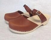 Honey oiled  Mary Jane clog low heel