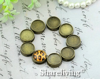 10pcs Antique Bronze 12mm Round Cameo Base Setting Hole Charm / Pendant AS265