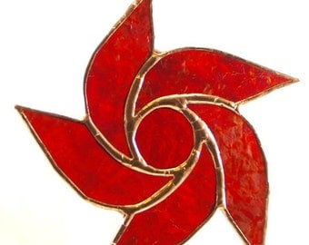 Stained Glass Iridescent Red Cathedral glass Star Suncatcher