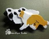 Border Collie Herding Sheep Brooch. Artist Hand-made Dog Art Jewelry Pin. E2