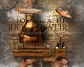 Steampunk Mona Digital Collage Greeting Card (Suitable for Framing)