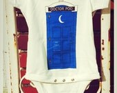 Dr. Poo ~~~Dr. Who Doctor Who Tardis meets an Out House Baby Onesie