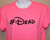 hashtag DEAD fluorescent pink top