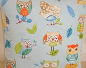 "Wise Owls Pillow Cover 16x16 Throw Cushion 16""x16"" Case Sham Slip 16"" NEW Orange Green Blue Beige Clever Kid's Owl Design Child's Bedroom"