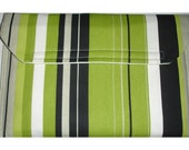 "13"" Macbook Air Sleeve Case Cover Pouch Kiwi Green Black Grey and White Stripes Envelope Style Bag Velcro Fastening Landscape Design Celtic"