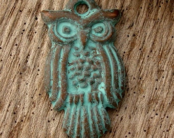 OWL PENDANT - (1) Greek Copper and Patina Small Owl Pendant