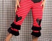 Carnival Knicker Pants,  Red Stripes, black hearts Bloomers,  Knee length, High Waist pants, Cotton Yoga Pants