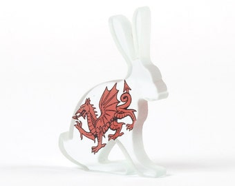 Cymru Hare Welsh Glass Sculpture Screen Printed Enamel