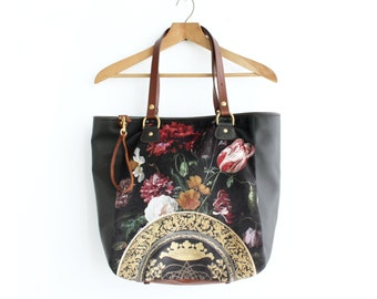 Leather Bag, Velvet Bag, Floral Handbag, Leather Tote Bag, Large Bag, Leather Purse, Leather Bag Handmade, Norwegian Wood, Kimberly Fletcher