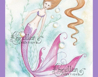 Seaweed and Bubbles Mermaid Print  from Original Watercolor Painting by Camille Grimshaw