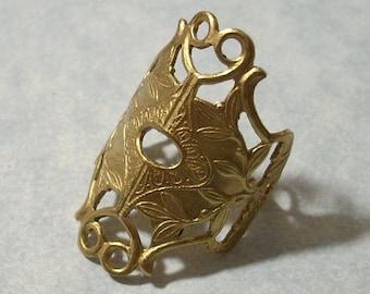 Adjustable Filigree Ring Blank Raw Brass Ring