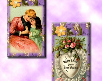 MoTHER & Child - CHaRMinG Vintage Art Hang/Gift Tags/ craft supplies- Printable Collage Sheet JPG Digital File