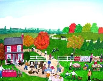 The Yard Sale - CUSTOM order - Original 16 x 12 Naive Figures Country Folk Art - Made to Order