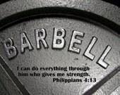 bible quote weightlifting art, training, bodybuilding, Christian art, Christian wall art, home gym, Phillipians 4:13 decor, man cave art