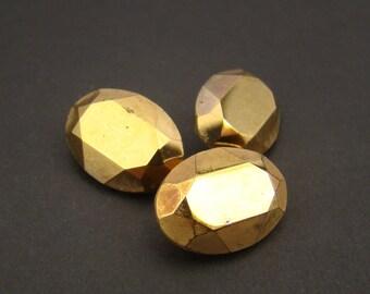 3 pcs oval crystal stones, Swarovski gold coating article 4140 18mm