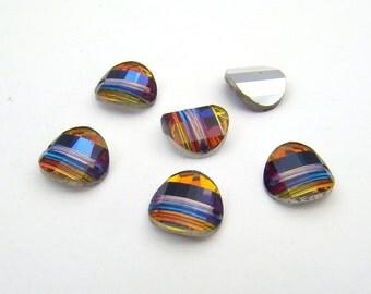 Vintage Swarovski crystal beads, pagoda volcano right article 5107 8mm, 6 pcs