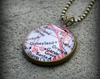Disneyland Map Necklace Pendant - Great Gift