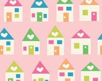 Benartex House and Home Little Pastel Houses in Pink 2933-01 - cotton quilt apparel sewing fabric Sold by the 1/2 Yard