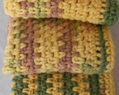 Wash Cloth or Dish Cloth Set Crocheted in Gold Sage and Dusty Rose