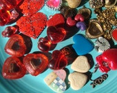 Vintage and New Heart Charms Beads Jewelry Parts Mixed Lot Mosaics Art Pieces