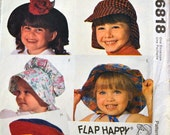 Sewing Pattern McCall's 6818 Children's Hats Uncut Complete