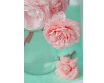 Ranunculus Photograph,  Flower Still Life, Floral Art Print, Pink Turquoise Floral Wall Decor, Nature Photography
