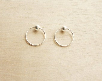 10 mm Captive Bead Ring,925 Sterling Silver,Hoop Earrings,Second Hole Earrings,Cartilage,Piercing,Tragus,Septum,Piercing,Hypoallergenic