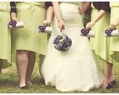 Silver Clutch - Bridal Clutch Bridesmaid Clutch - Kisslock Snap Bouquet Clutch - Royal Blue Flower Blossoms with Rhinestones n Pearls
