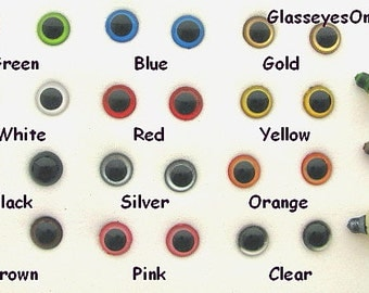 12 PAIR 6mm or 8mm or 9mm or 10mm or 12mm Safety EYES  Choose Size & Color for teddy bears, dolls, sew, amigurumi, crochet ( PE-1 )